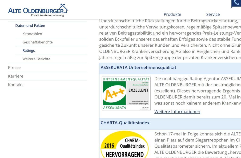 Alte Oldenburger private Krankenversicherung